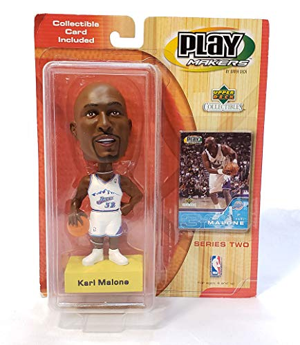 (Play Makers by Upper Deck Bobble Head Karl Malone (Jazz) with Collectible Card Included - Series Two)