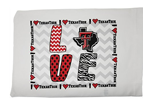 Texas Tech Pillowcase (Standard Pillowcase - Peace Love Texas Tech Red Raiders)