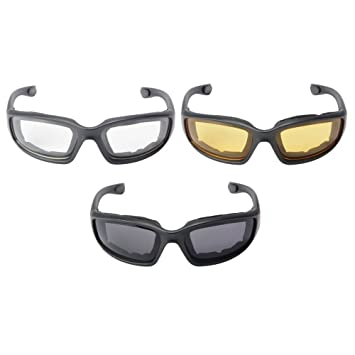7505304629 XCSOURCE 3 Pairs Motorcycle Sport Bike Riding Glasses Padded Wind-Resistant  Sunglasses Goggles Smoke Clear Yellow Lens MA1267  Amazon.in  Car    Motorbike