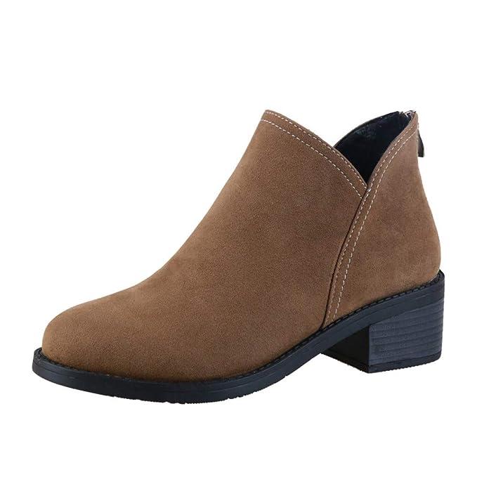 LILICAT☃ Botines Gruesos con Cremallera para Mujer Botas Martin Negro, Caqui, 35-40 Tacón Cuadrado Mantener cálido Gamuza Color Puro Punta Redonda Zapatos: ...