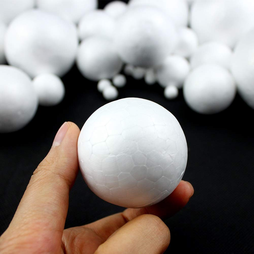 School Projects and Party Decorations Dorhui Foam Craft Balls Art Decoration Styrofoam Balls Polystyrene Craft Balls for DIY Art Craft White Color 128 Pieces 7 Sizes Styrofoam Balls
