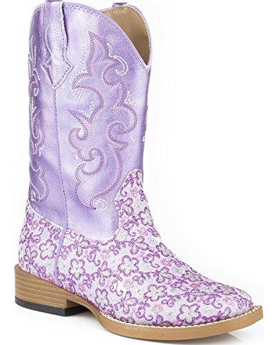 Roper Girls' Lavender Floral Glitter Cowgirl Boot Square Toe Purple 12 US