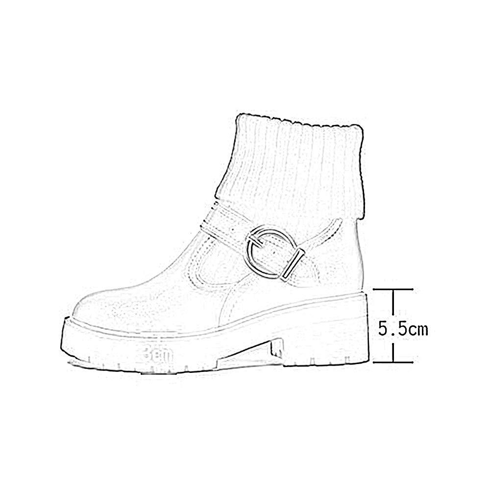 Stiefel Xiaolin Damen Warm gestrickte Ankle Stiefelie Runde Zehenpullover Manschette Manschette Manschette Niedrige Ferse Kampfstiefel Martin (Farbe   Weiß, größe   US9 EU40 UK7 CN41) eb71f8