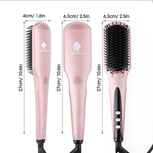 Enhanced Hair Straightener Heat Brush by MiroPure, 2-in-1 Ceramic Ionic Straightening Brush, Hot Comb with Anti-Scald Feature, Auto Temperature Lock & Auto-Off Function (Pink)