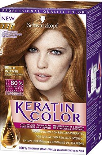 Schwarzkopf KERATIN COLOR Professional Quality Permanent Color Hair Dye No. 7.77 Golden Copper