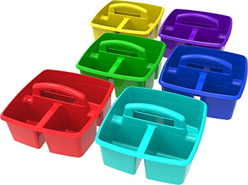 Storex Classroom Caddy, 9.25 x 9.25 x 5.25 Inches, Assorted Colors, Case of 6 (00940U06C) -