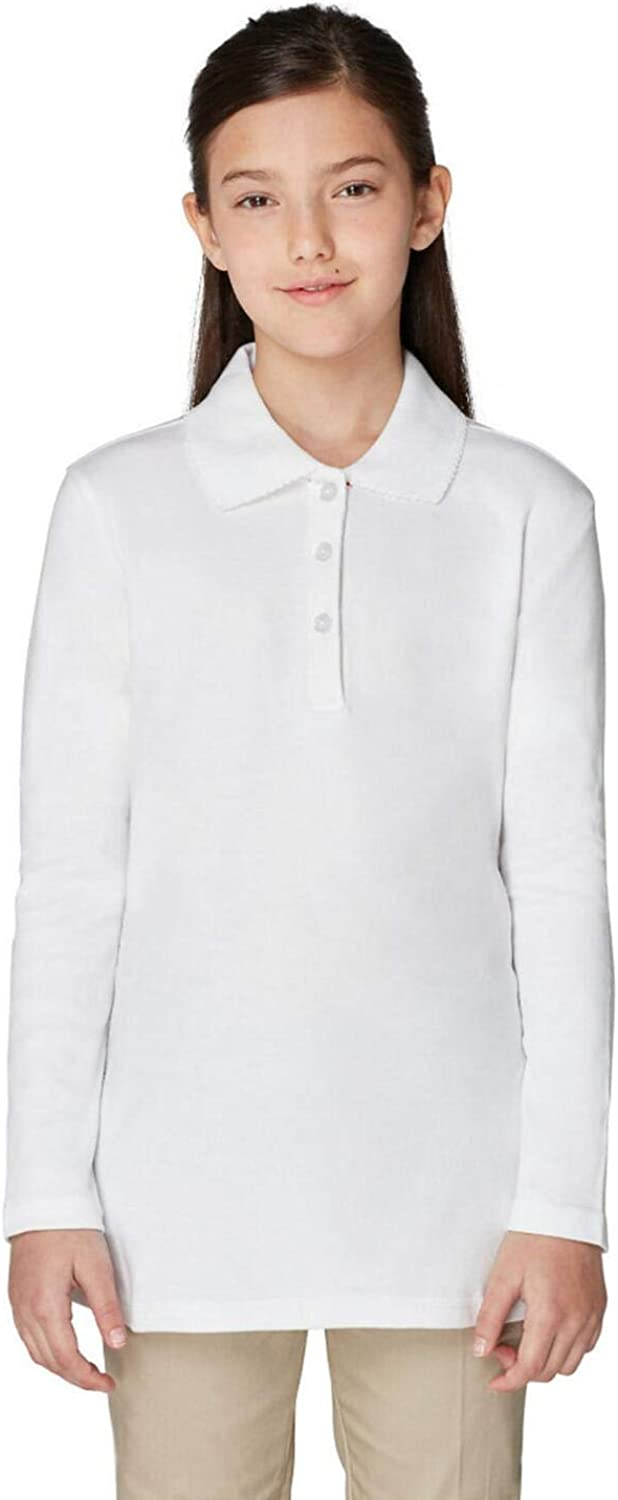 French Toast Official School Wear  Long Sleeve Interlock Knit Polo White Size 10