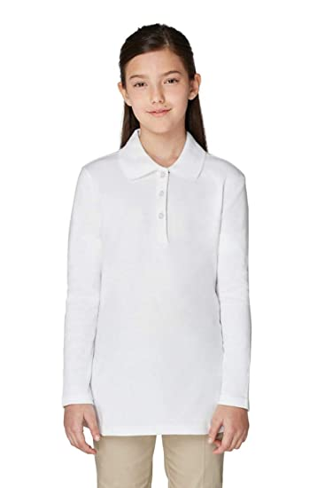 d2d18255f0a French Toast Girls' Long Sleeve Interlock Polo with Picot Collar