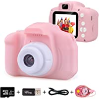 Kids Digital Camera for Girls Age 3-10, Toddler Cameras Mini Cartoon Rechargeable Video Camera with 2 Inch IPS Screen…