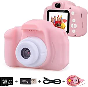 Kids Digital Camera for Girls Age 3-10, Toddler Cameras Mini Cartoon Rechargeable Video Camera with 2 Inch IPS Screen and 32GB SD Card Child Camcorder Toy Kid's Birthday