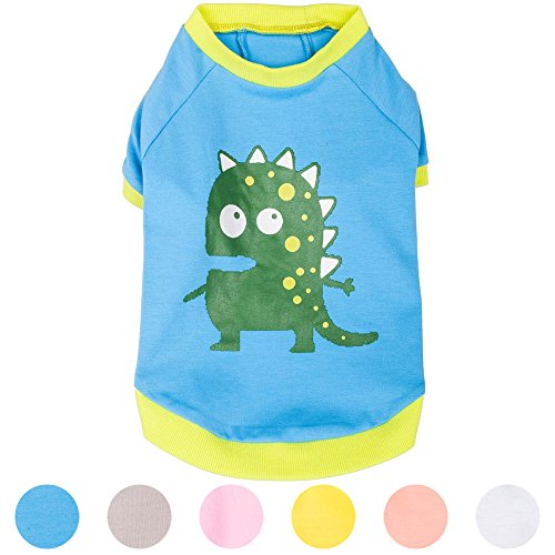 Blueberry Pet Alien the Dinosaur Cotton Dog Shirt in Blue , Back Length 10