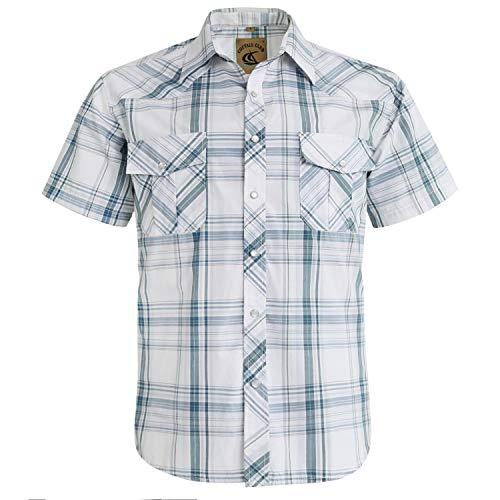 Coevals Club Men's Snap Button Down Plaid Short Sleeve Work Casual Shirt (White Plaid #28, XL) ()
