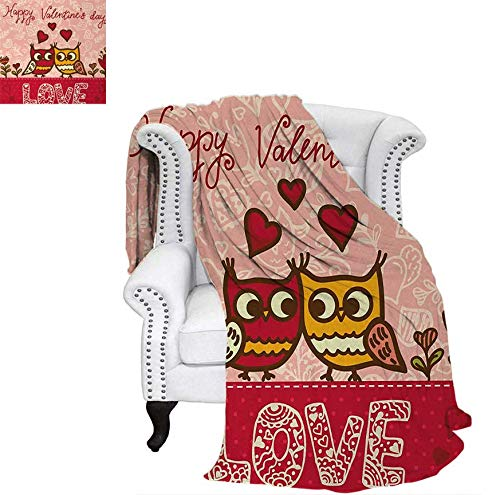(Velvet Plush Throw Blanket Owls in Love Print Cute Partners Couples Boho Style Hearts Flowers Dots Throw Blanket 70