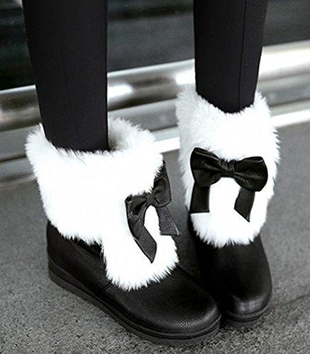 Idifu Womens Sweet Bow Mid Zeppa Tacco Faux Fur Foderato Stivaletti Alti Stivali Da Neve Invernale Stivaletti Neri
