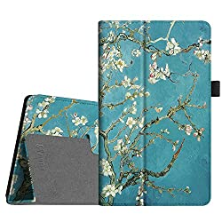 Fintie Folio Case for All-New Amazon Fire HD 8 (6th Generation, 2016 release), Slim Fit Premium Vegan Leather Standing Cover Auto Wake/Sleep for Fire HD 8 Tablet (2016 6th Gen Only), Blossom
