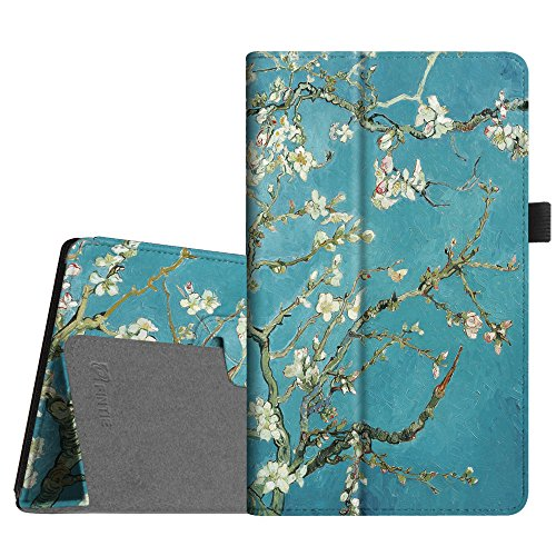 Fintie Folio Case for All-New Amazon Fire HD 8 Tablet (Compatible with 7th and 8th Generation Tablets, 2017 and 2018 Releases) - Slim Fit Premium Vegan Leather Standing Protective Cover, Blossom