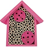 Bee House - Bamboo Tube Mason Bee House for Solitary Bees by Cestari Kitchen (House, Pink)