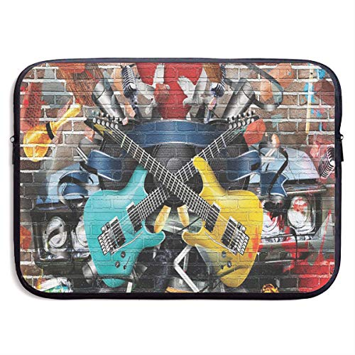 Guitar Graffiti Music Street Wall Art Laptop Sleeve Case Notebook Bag Protective Cover for 13 Inch Computer
