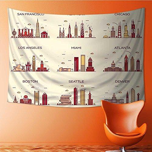 SOCOMIMI Magical Landscape Tapestry american cities san francisco new york chicago los angeles miami atlanta for Bedroom Living Room Dorm(90.5W x 59L INCH)