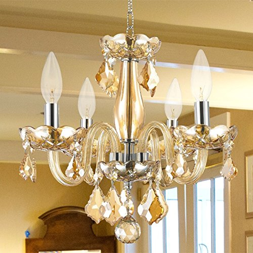 Brilliance Lighting and Chandeliers Kids Room Chandelier Modern Elegance 4-Light Full Lead Amber Crystal Chrome Finish 16-inch Mini Chandelier -