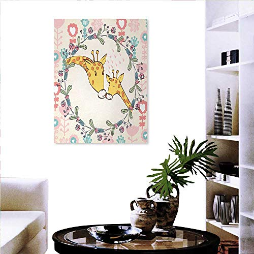 Giraffe Print Mint Canvas Wall Art Cartoon Mom and Animal Figures Surrounded by Floral Ornaments Heart Shapes Flowers Wall Sticker Yellow Flowers 32
