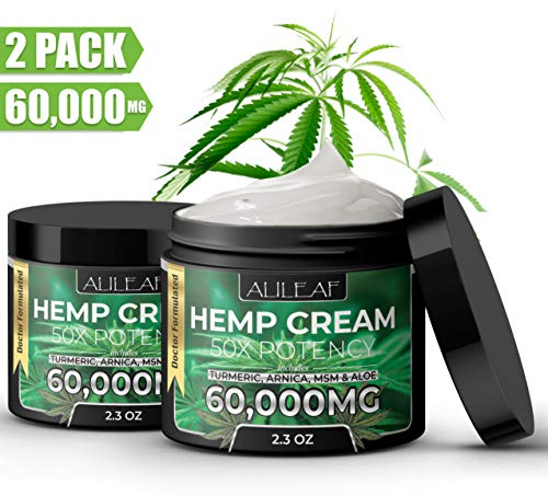 (2 Pack) Hemp Pain Relief Cream 60,000 Mg - Turmeric, MSM, Arnica & Emu Oil - Relieves Inflammation, Muscle, Joint, Back, Knee, Nerves, Arthritis Pain & Skin Health - Natural Hemp Extract Made in USA