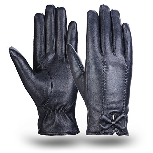 Leather Gloves MEZETIHE Gloves All Fingers Touch Screen Warm Cashmere Lined Winter Driving Gloves With Bow