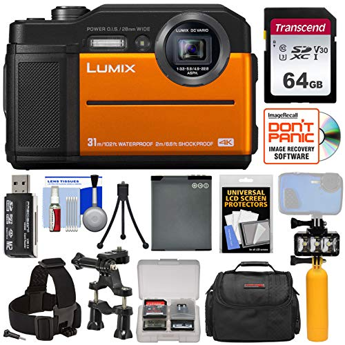 Panasonic Lumix DC-TS7 4K Tough Shock & Waterproof Digital Camera (Orange) with 64GB Card + Battery + Case + Video Light + Buoy + Action Mounts Kit