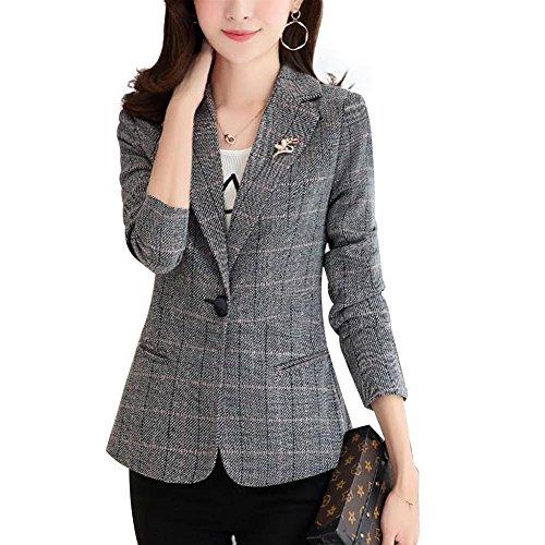 (NJunicorn Uncle Womens Tweed Casual Blazer Jacket Outwear One-Button Petite Blazer Elbow Patch Plus Size(Gray 8/10))