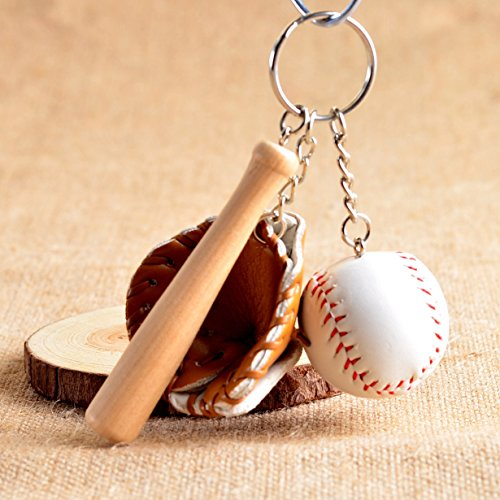 (1 Pc Mini Pocket Baseball Glove Wooden Bat Keychain Keyring Keyfob Sports Pendant Keys Chains Rings Tags Strap Wrist Perfect Popular Cute Wristlet Utility Keyrings Tool Teen Women Girls Gift, Type-03)