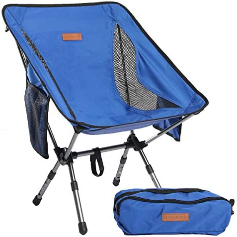 Boundary Life Portable Folding Chair for Camping, Backpacking and Hiking – Compact and Lightweight Chairs fit in a Backpack Great for Hunting Fishing Picnic or The Beach 1, Blue
