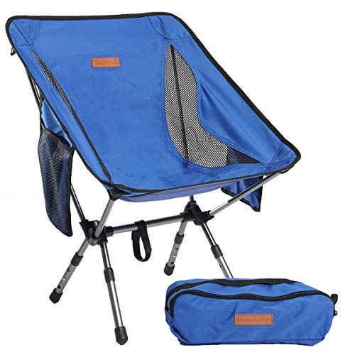 Boundary Life Portable Camping Chair: for Camping, Backpacking and Hiking - Compact Collapsible and Light Chairs fit in a Backpack Great Backpacking Chairs for Hunting Fishing or Beach (Blue)
