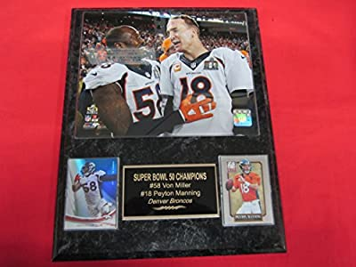 Von Miller Peyton Manning Denver Broncos 2 Card Collector Plaque w/8x10 Super Bowl Photo