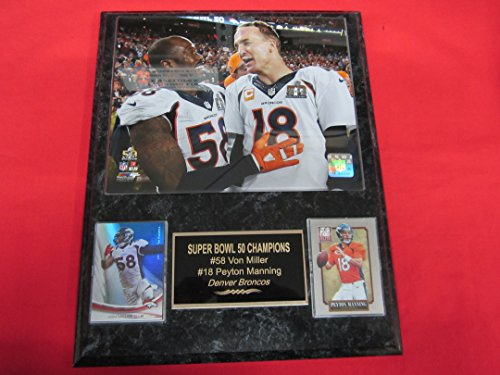 Von Miller Peyton Manning Denver Broncos 2 Card Collector Plaque w/8x10 Super Bowl (Denver Broncos Collectibles)