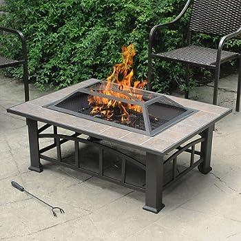 Axxonn Outdoor Rectangular Ceramic Tile Top Fire Pit, Brownish Bronze