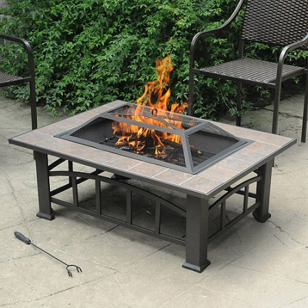 Axxonn Outdoor Rectangular Ceramic Tile Top Fire Pit, Brownish Bronze