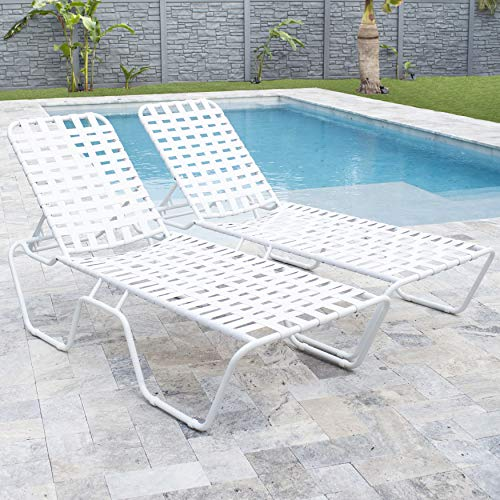 MIX Breeze Patio Outdoor Commercial Grade Cross-Weave Strap Lounge Chaise, ()