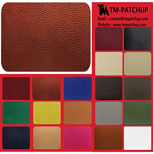TMpatchup Genuine Leather and Vinyl Repair Patches Kit, Grain Self Adhesive Leather, Multiple Colors and Sizes Available (Burgundy Red, 4'' x 8'')