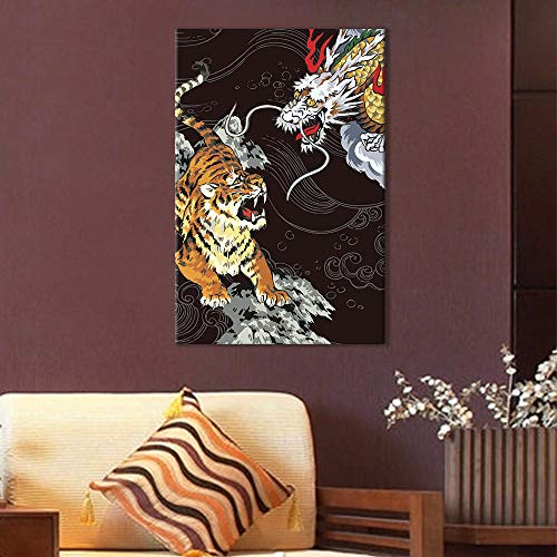 Drawing of an Angry Tiger and a Chinese Dragon on Black Background