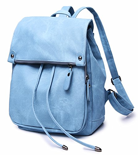 Stylish PU Leather Backpack For Women Lightweight Cute Mini Backpack For Women Fashion Design Drawstring School Waterproof Rusksack Blue by SUNNY SHOP