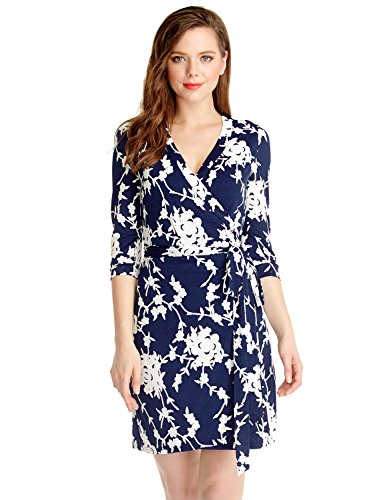 Lookbook Store LookbookStore Women's Blue and White Casual True Wrap Floral Knee Length Cocktail Work Dress US 6