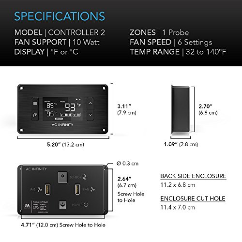 AC Infinity CONTROLLER 2, Fan Thermostat And Speed Controller, For Home  Theater AV Media Cabinet Cooling
