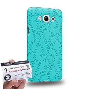 Case88 [Samsung Galaxy Grand Max] 3D impresa Carcasa/Funda dura para & Tarjeta de garantía - Art Fashion Leaf Trend Cyan Background