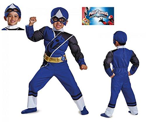 Blue Ninja Costume Toddler (Toddler size Muscle Chest Ranger Ninja Steel Muscle Costume - 3T-4T - Blue)