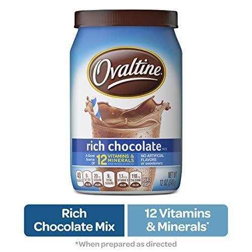 NESTLE OVALTINE Chocolate Rich Chocolate Mix, 12 oz. Canister | Easy to Prepare Fortified Malt Beverage