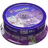 Verbatim 43667 - DVD+R doble capa inkjet printable 8x, pack de 25
