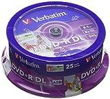 Verbatim 43667 8.5GB 8x Double Layer DVD+R Inkjet Printable - 25 Pack Spindl