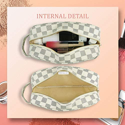 LIVISTA Makeup Cosmetic Bag Organizer Multifunction Portable Toiletry Case Jewelry Bags for Women and Girls (Cream)