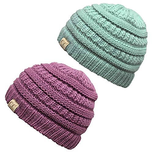 H-3847-2-5461 Kids Beanie (NO POM) Bundle - 1 Mint, 1 Lavender (2 Pack)