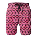 ZAPAGE Pink Fish Scale Boys Quick Dry Boardshorts Printed Skateboard Short With Pocket